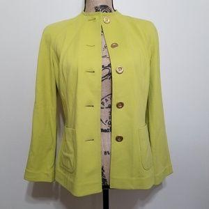 St. John Neon Yellow Knit Blazer Size 2